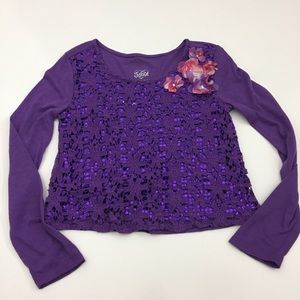Justice Crochet & Sequin Long Sleeve Top Flowers